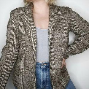 Linda Allard Ellen Tracy Neutral Tweed Blazer M